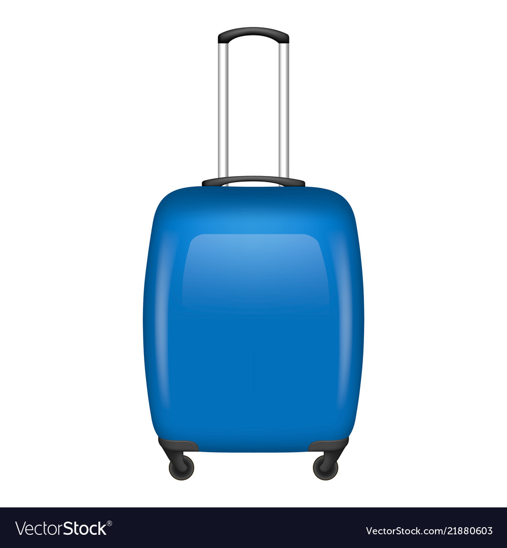 Blue travel bag icon realistic style