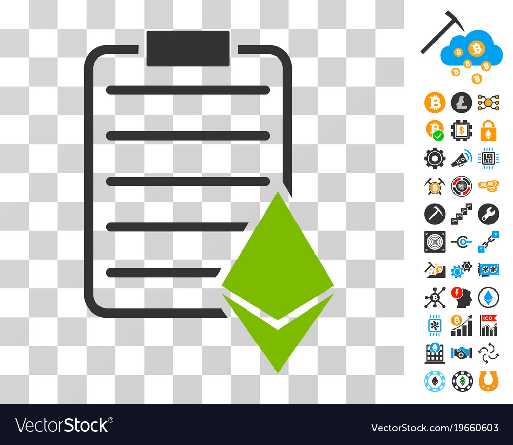 ethereum contract icon with bonus royalty free vector image