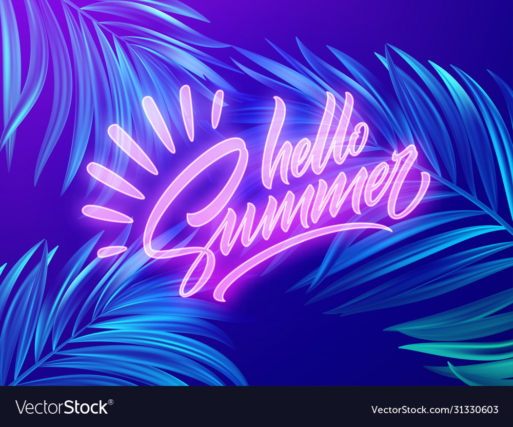 Hello summer neon lettering on a background of
