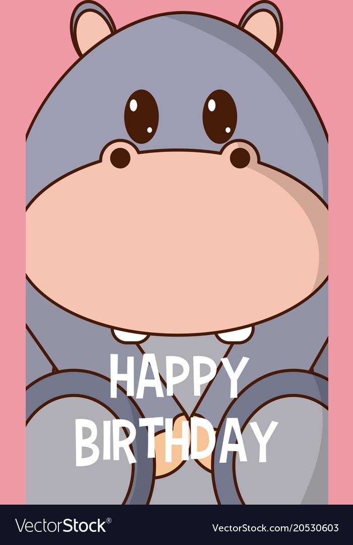 Hippo Cute Birthday Card Royalty Free Vector Image