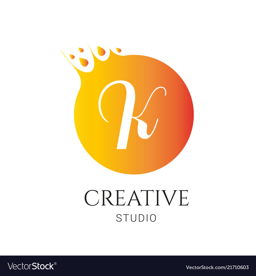 K letter logo design f icon colorful and modern