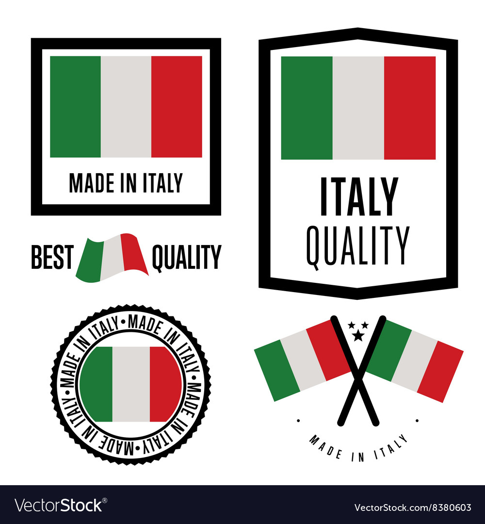 Made in Italy label set national flag
