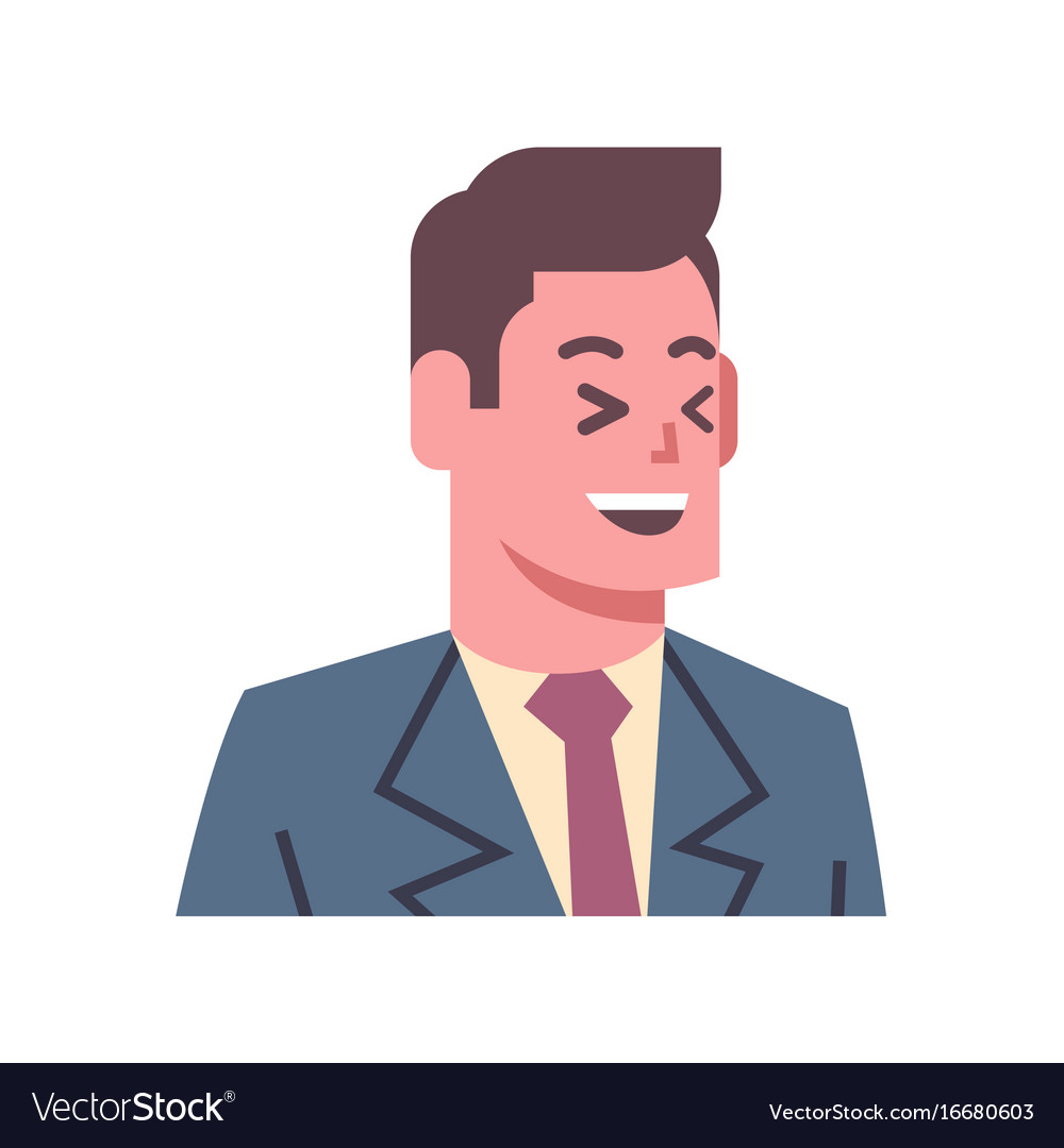 Male laugh emotion icon isolated avatar man facial vector image