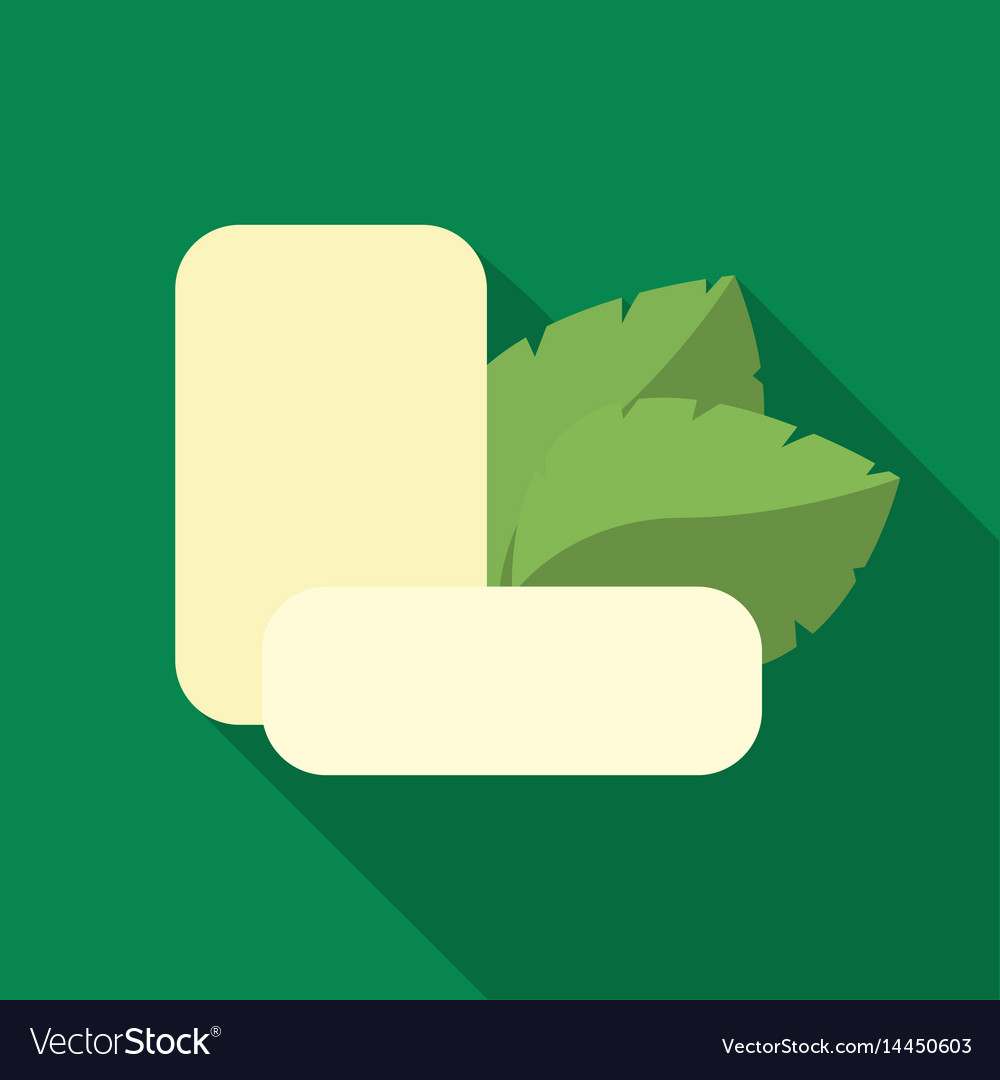 Mint chewing gum icon in flat style isolated on