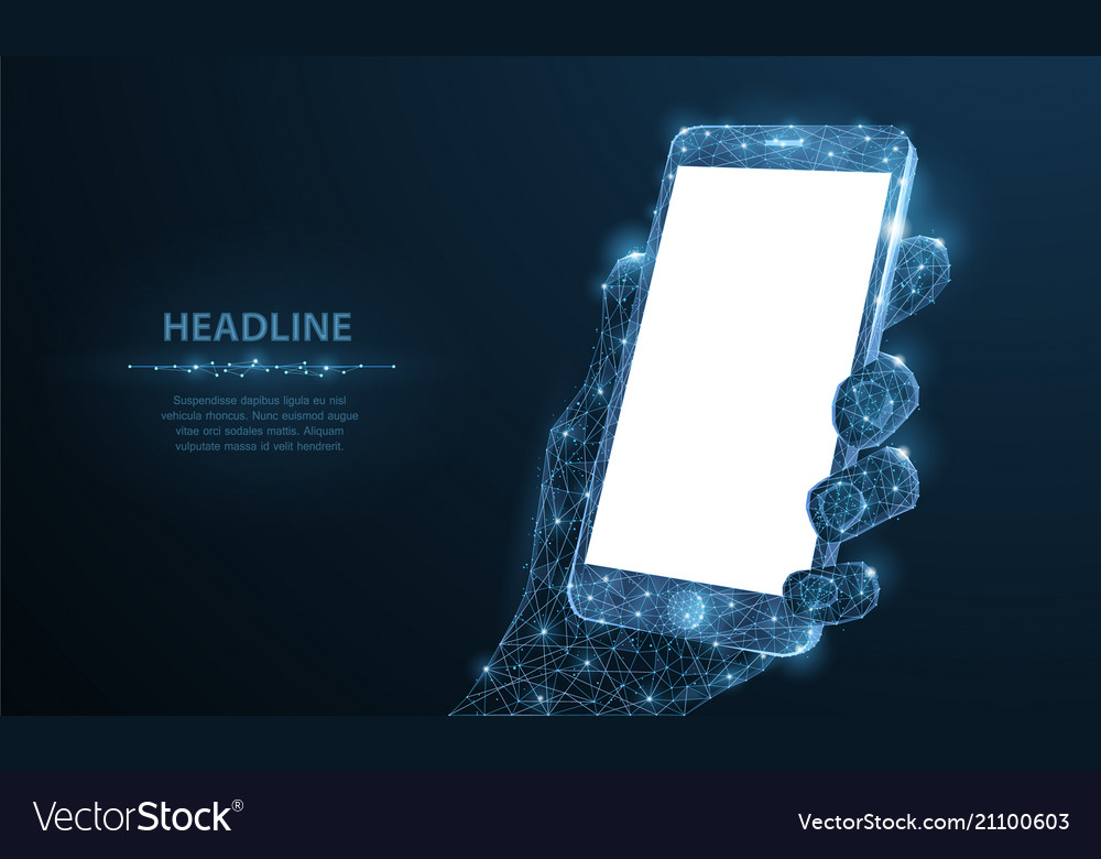 Mobile phone abstract polygonal wireframe closeup