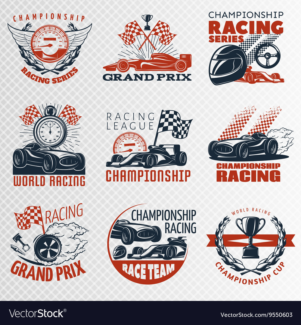 Racing Emblem Set In Color vector image