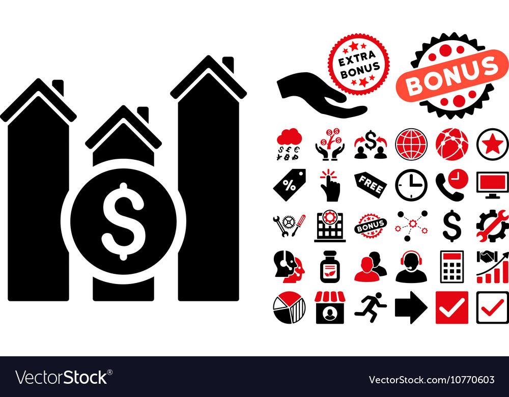 Realty Price Charts Flat Icon with Bonus