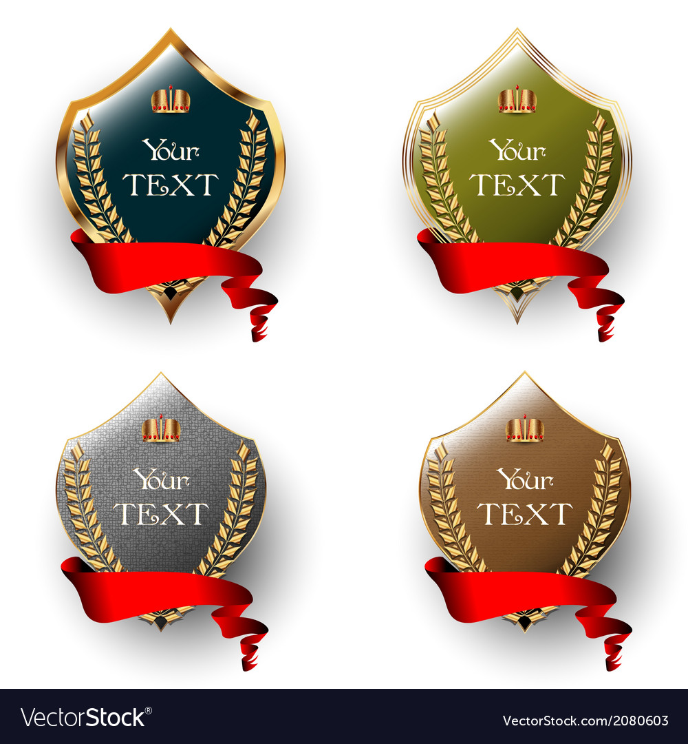 Royal labels with red ribbons