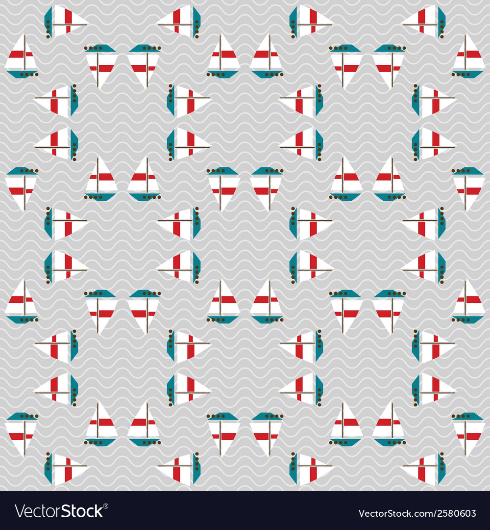 Seamless sea pattern with boats on waves