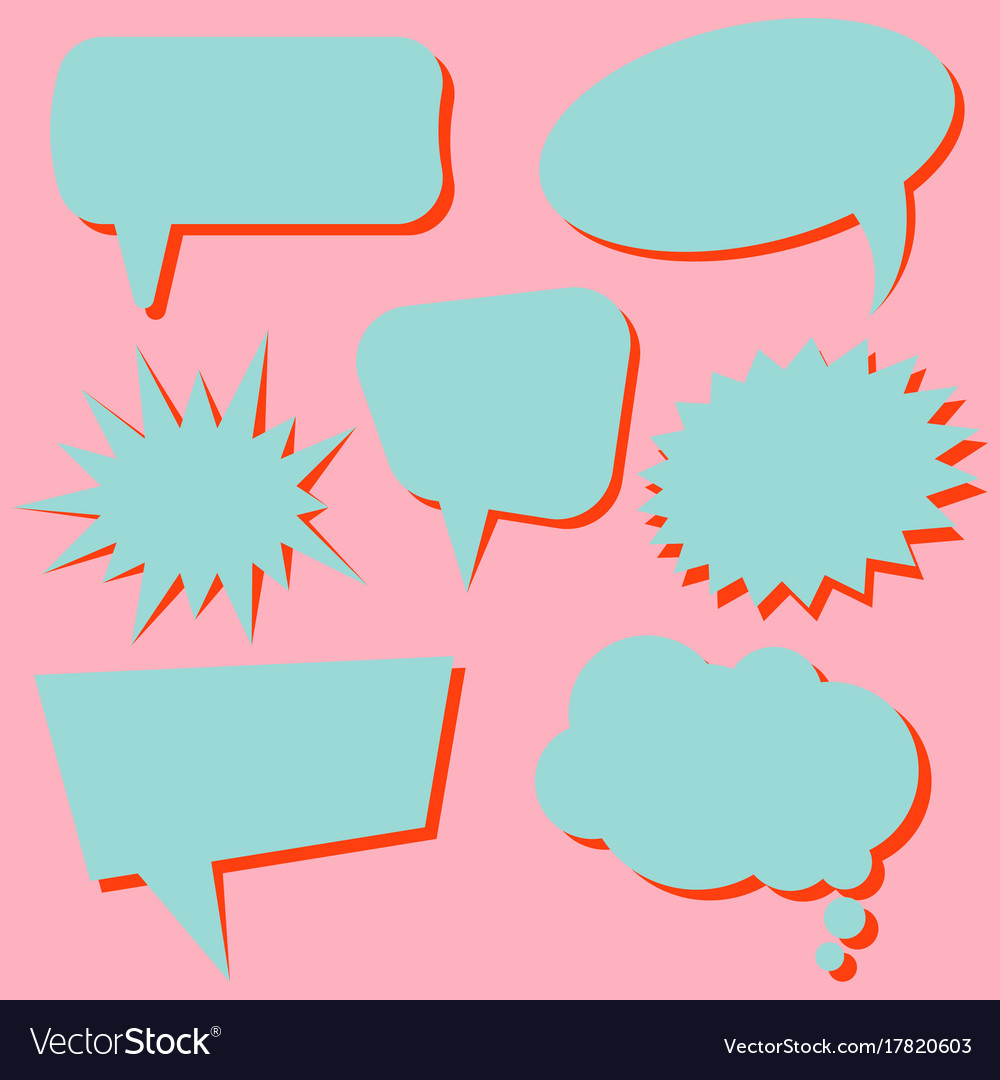 Set of blue speech bubbles without phrases vector image