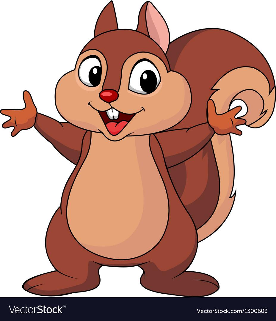 Squirrel cartoon waving hand vector image