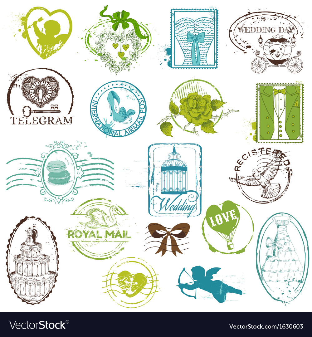 Vintage Rubber Stamp Collection Royalty Free Vector Image