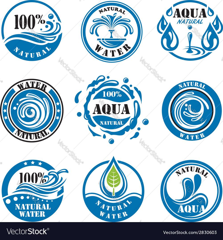 Water labels vector image