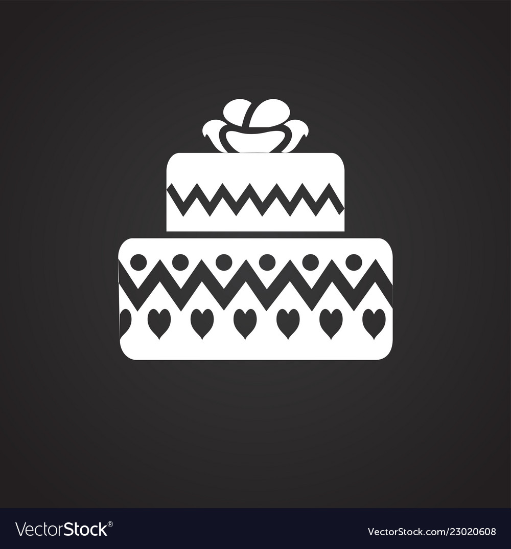 Birthday Cake Icon On Black Background For Graphic Vector Image