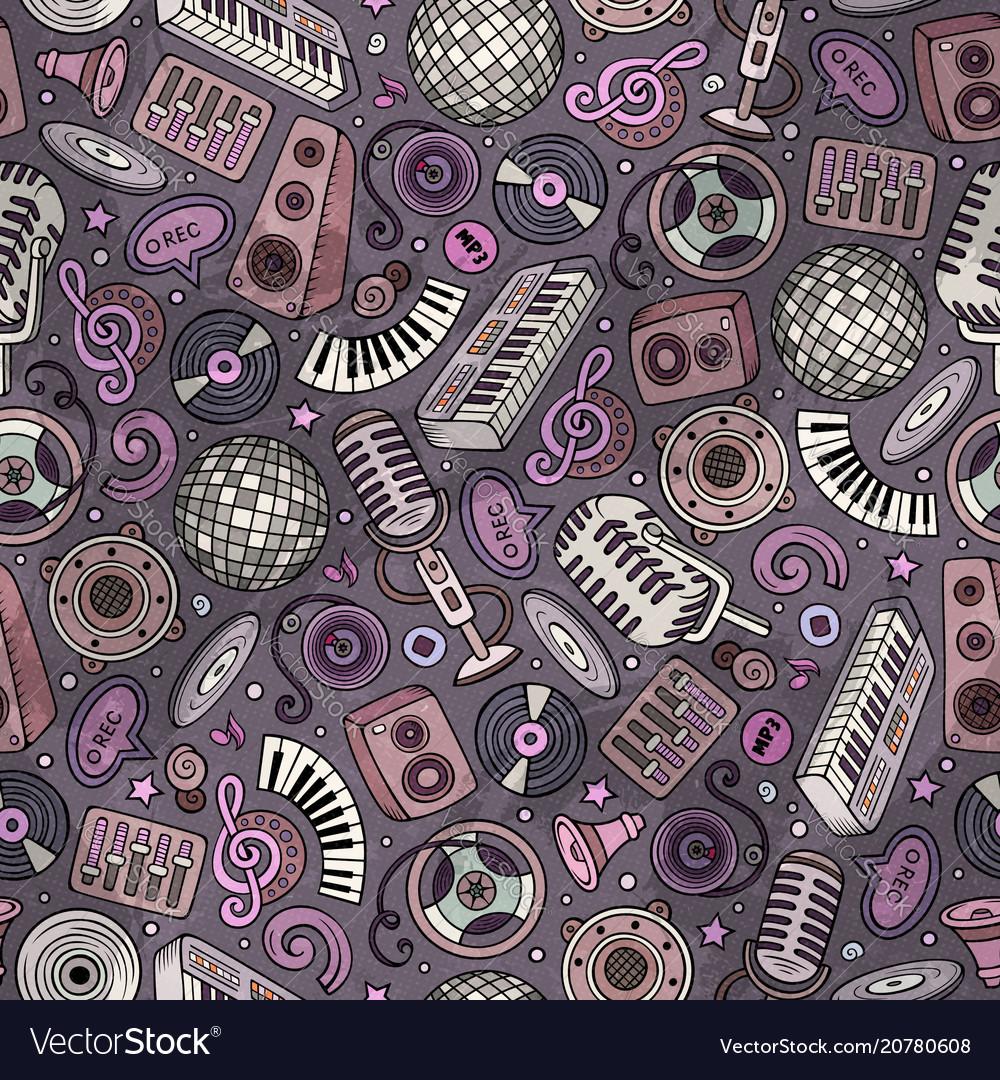 Cartoon hand-drawn disco music seamless pattern