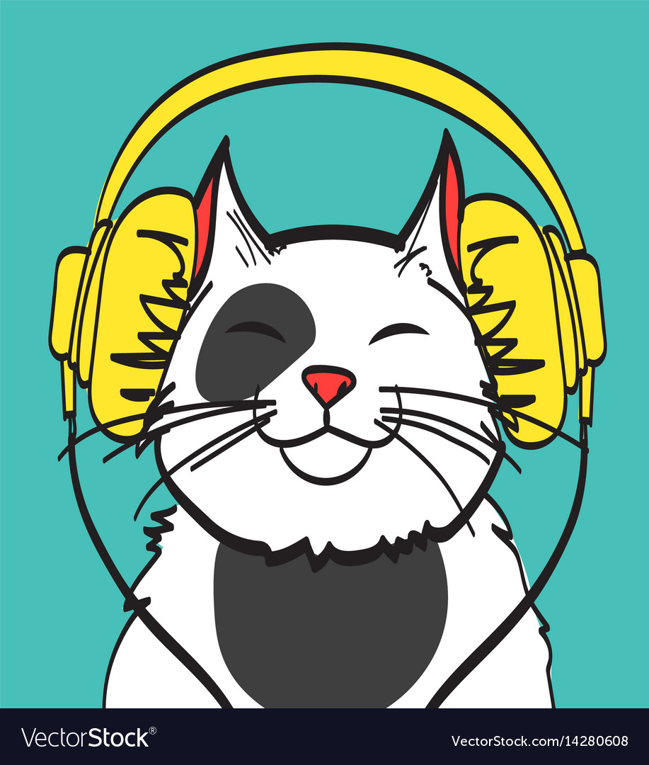 Cool art of cat with headphone music