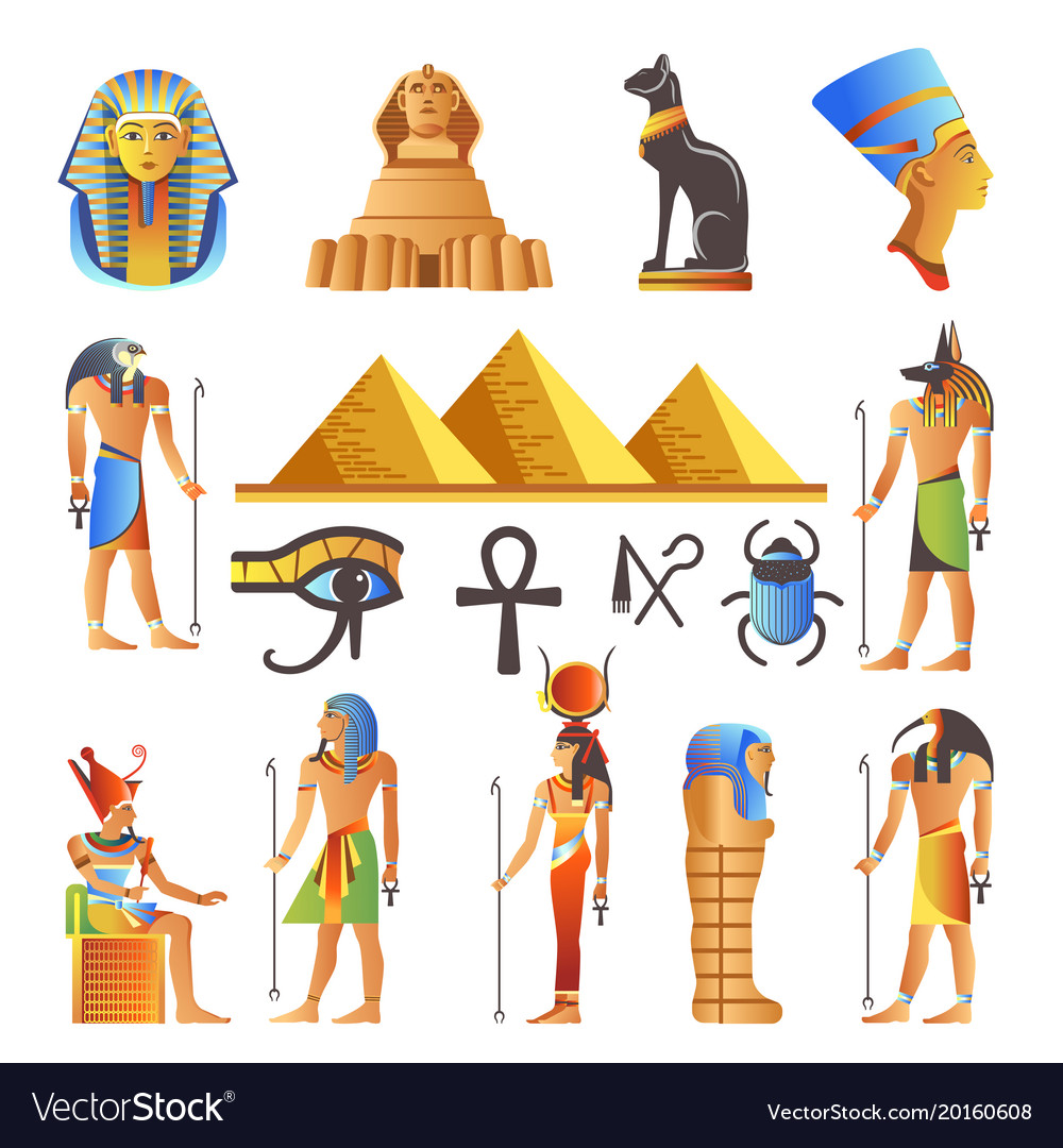 Egypt culture symbols isolated icons of
