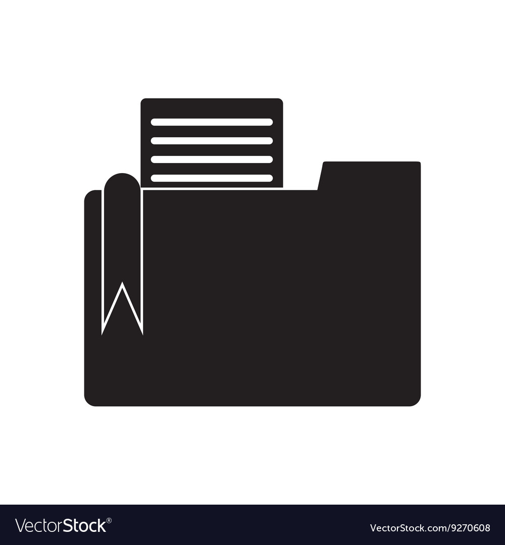 Flat icon in black and white documents folder