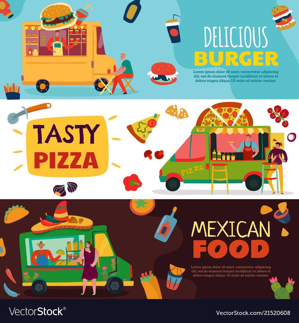 Food trucks banners set