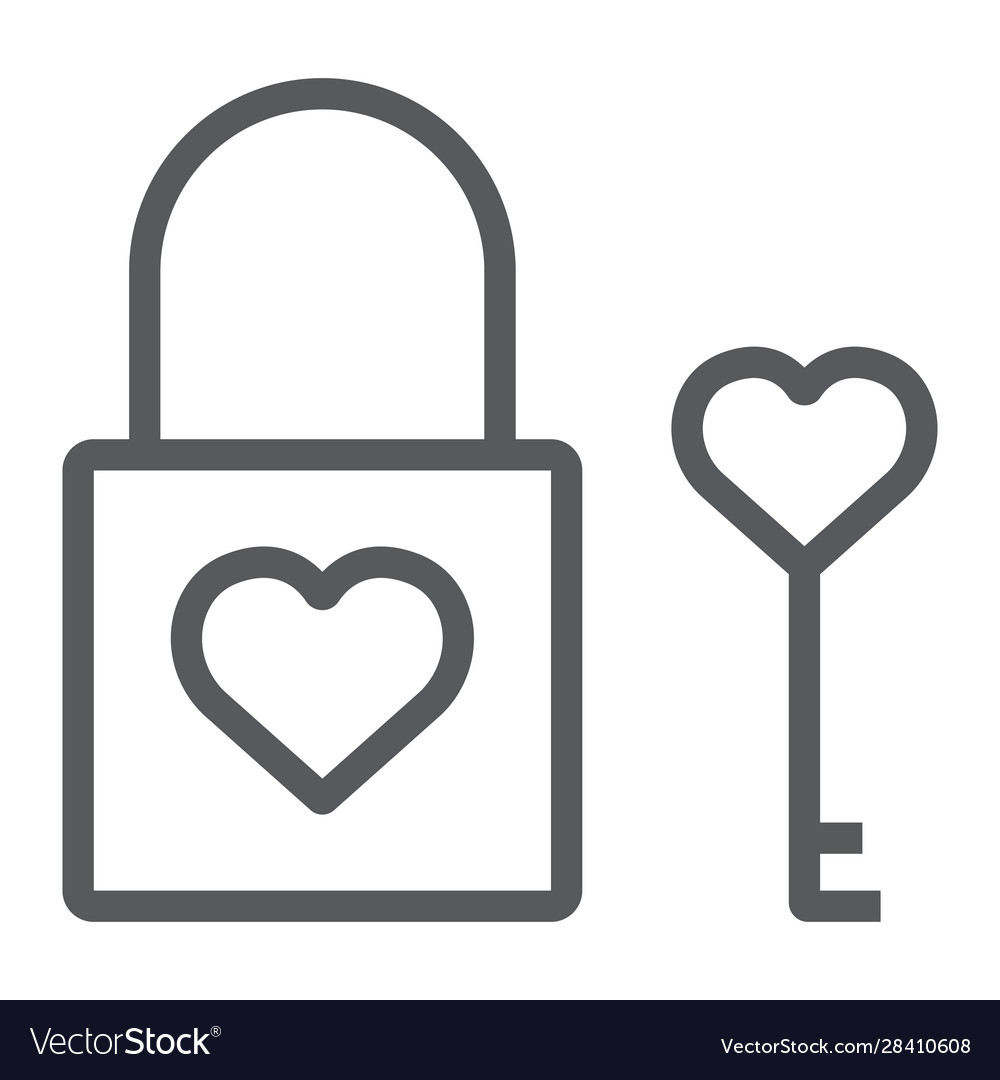 Heart lock line icon valentine and holiday love