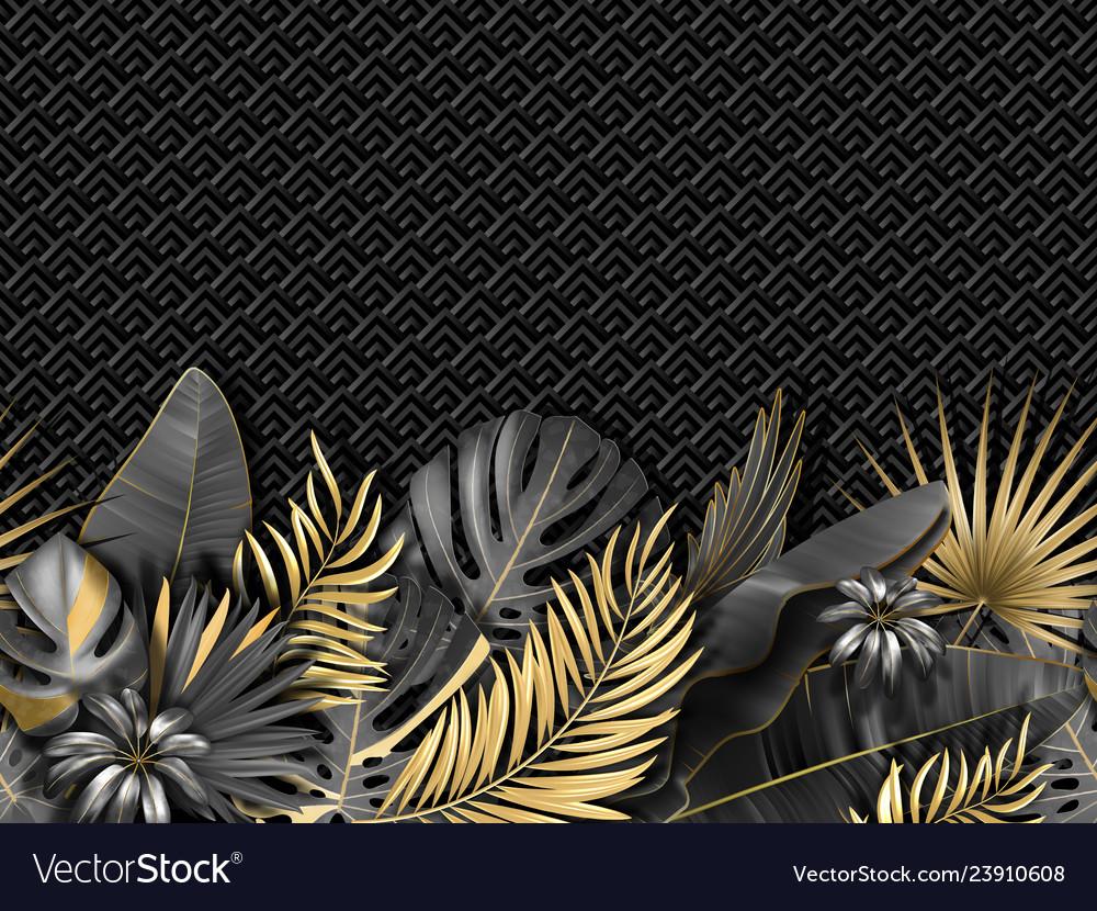 Horizontal seamless pattern with gold black