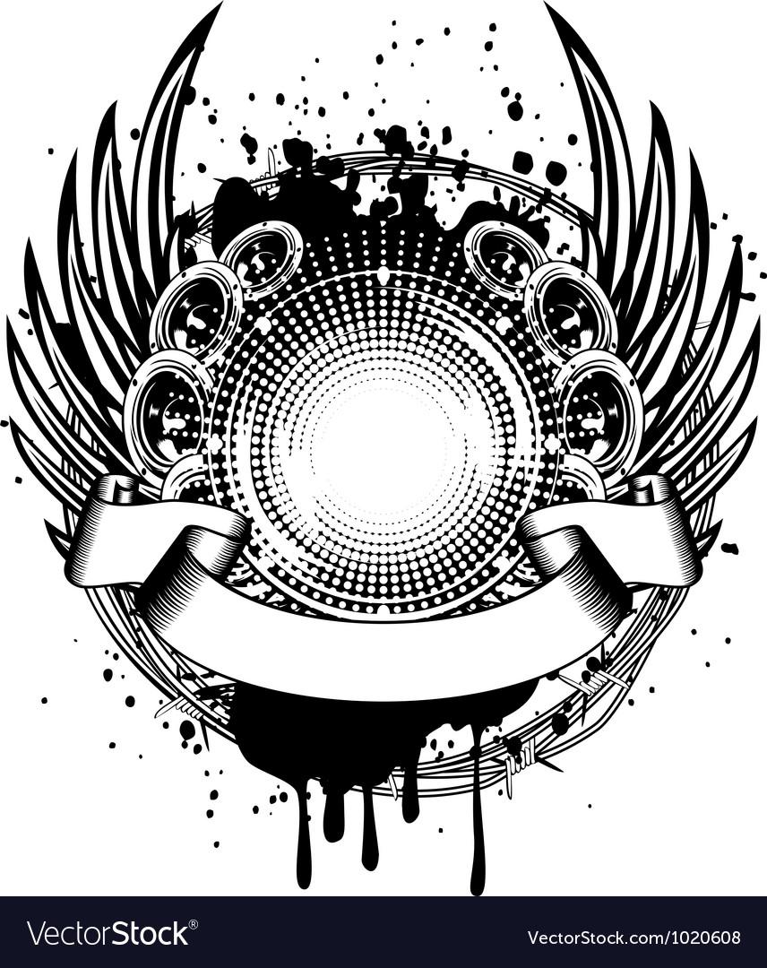 Loudspeakers and wings vector image