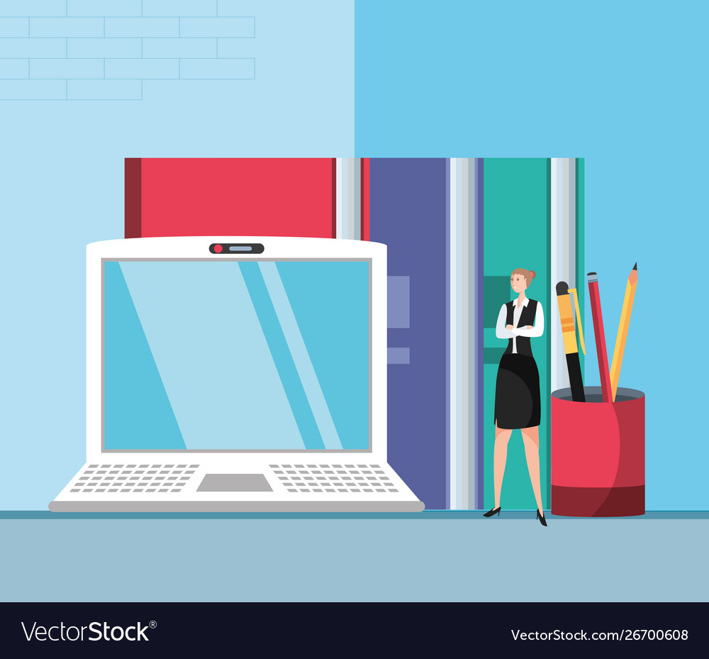 Laptop In Workplace Vector Image
