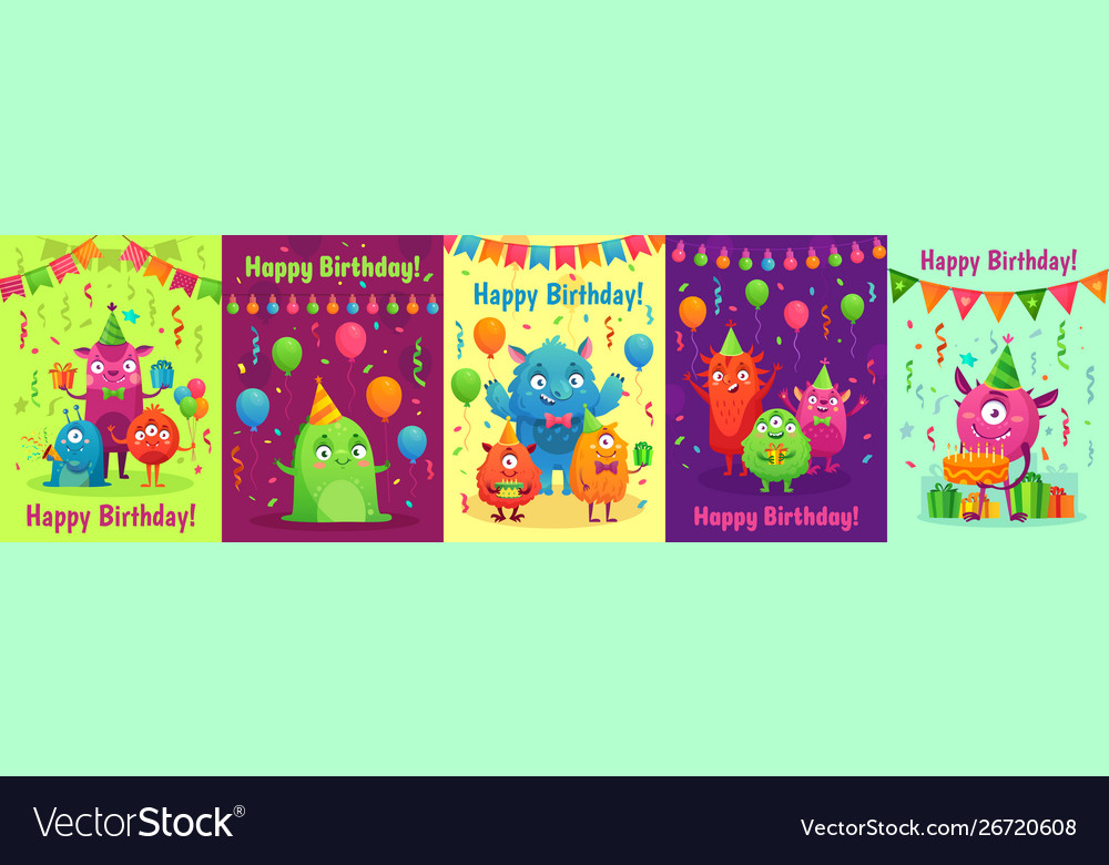 Monster birthday greeting card monsters with