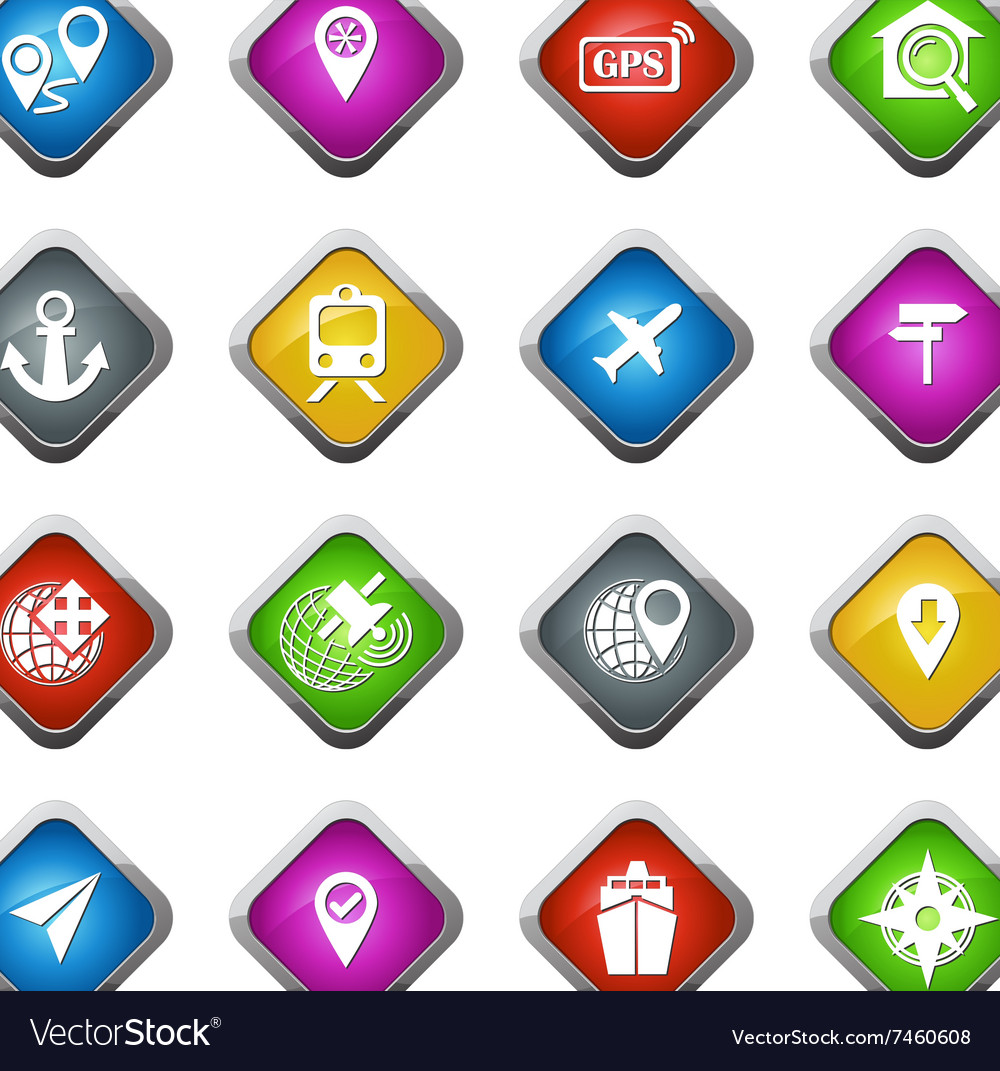 Navigation and transport icons set