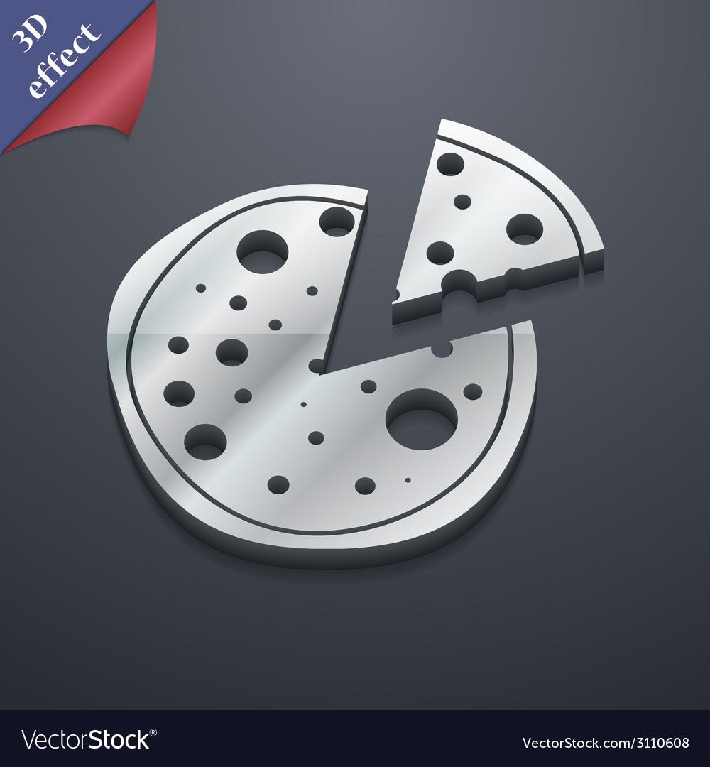 Pizza icon symbol 3D style Trendy modern design