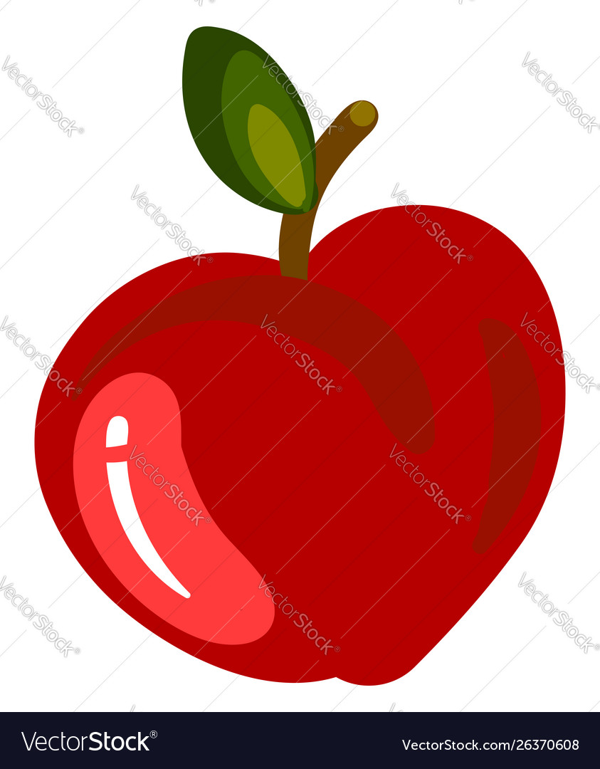 Red flat apple on white background