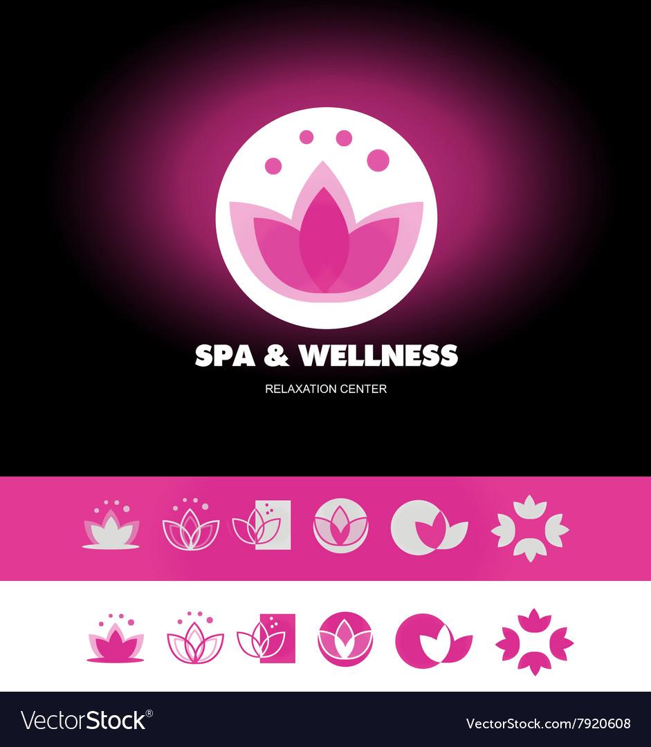Spa Wellness Lotus Flower Logo Icon Royalty Free Vector