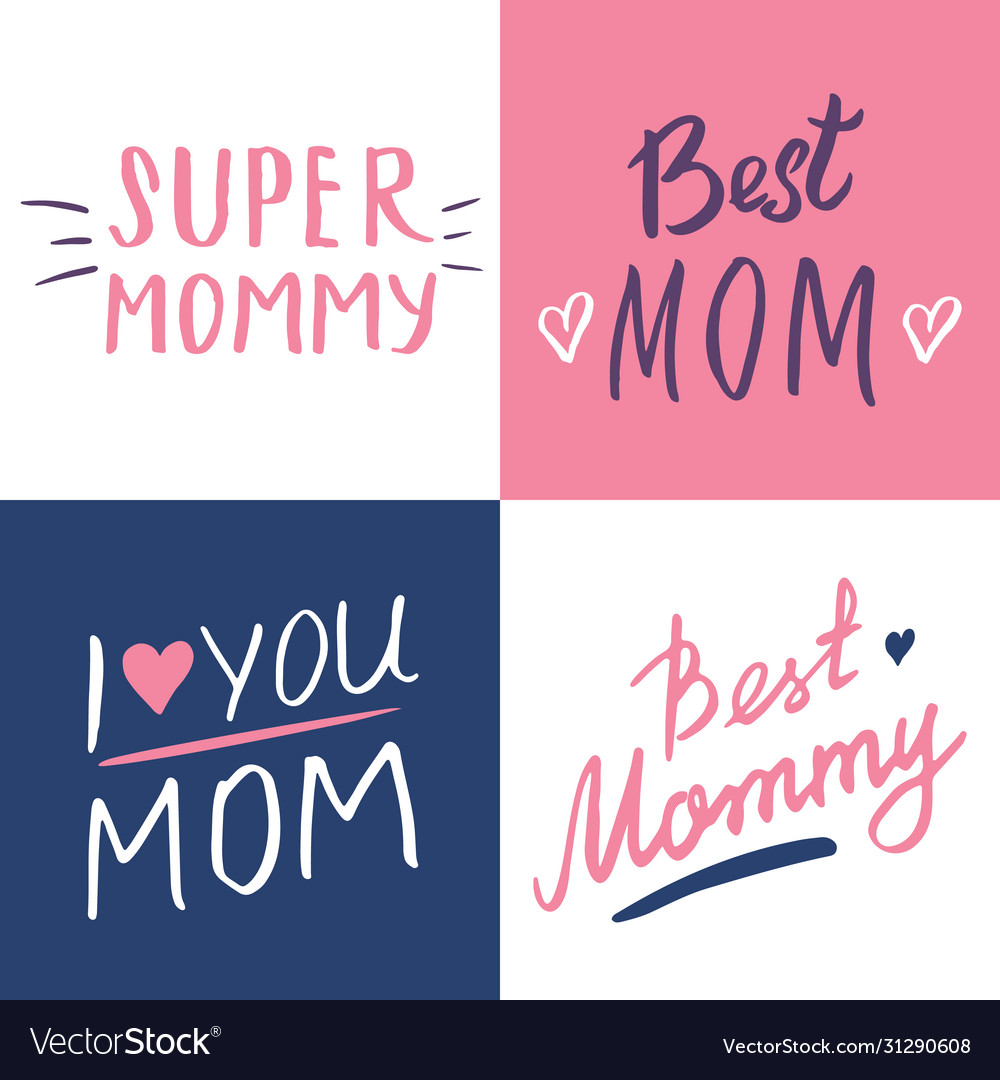 Super mom calligraphic letterings signs set
