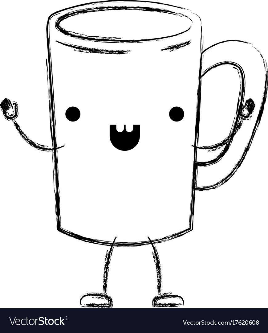 Tubular Mug Coffee Cartoon Monochrome Blurred Vector Image