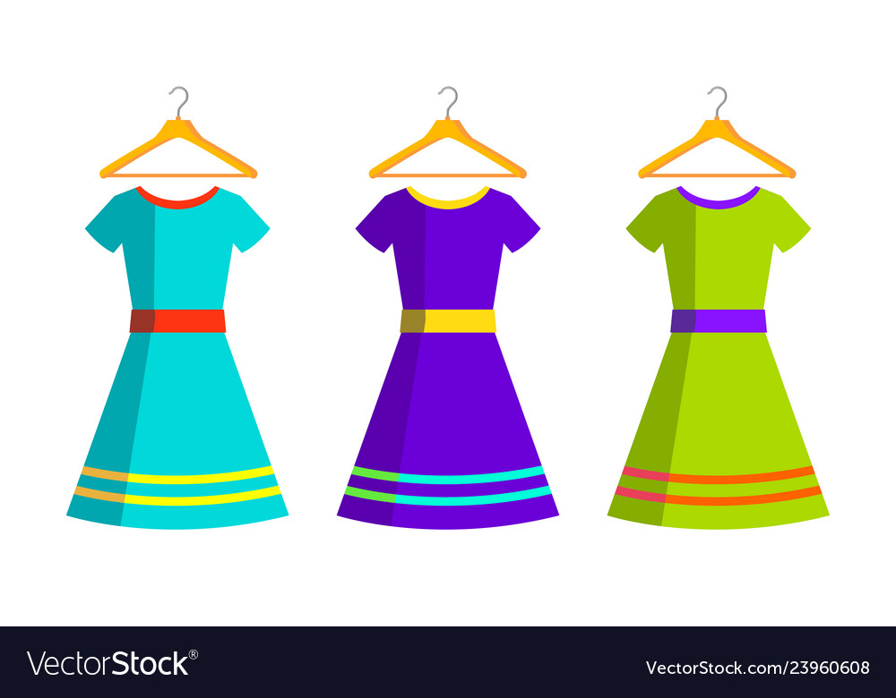 Women dresses and hanger isolated flat