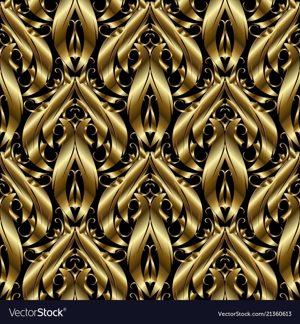 3d gold textured baroque seamless pattern