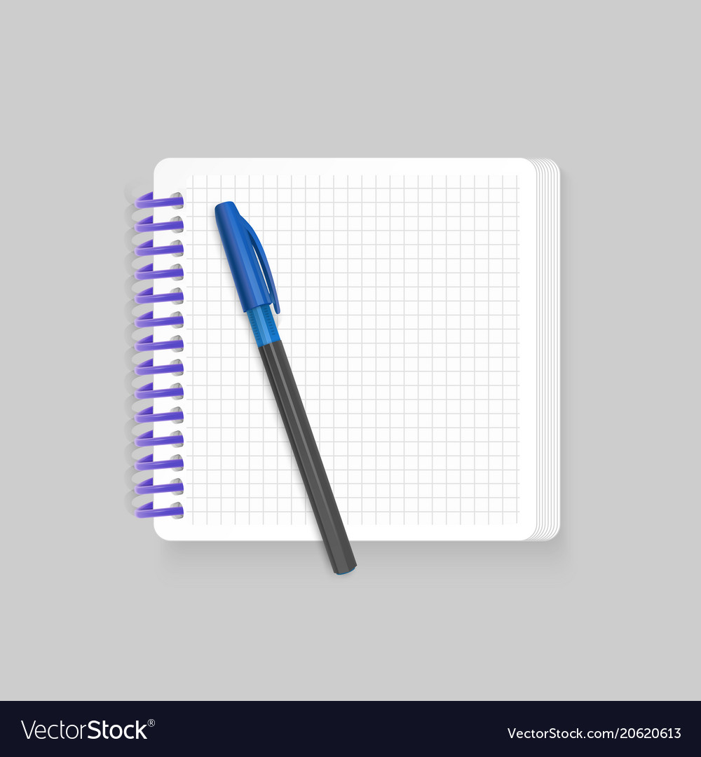 Blank spiral notepad notebook with realistic blue vector image