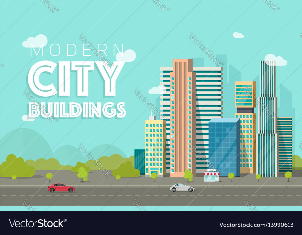 Buildings city flat vector image