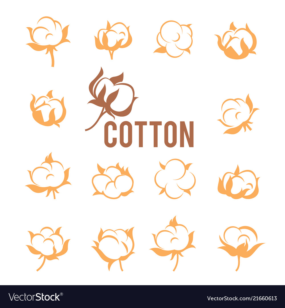 Cotton logos icons labels stickers and emblems