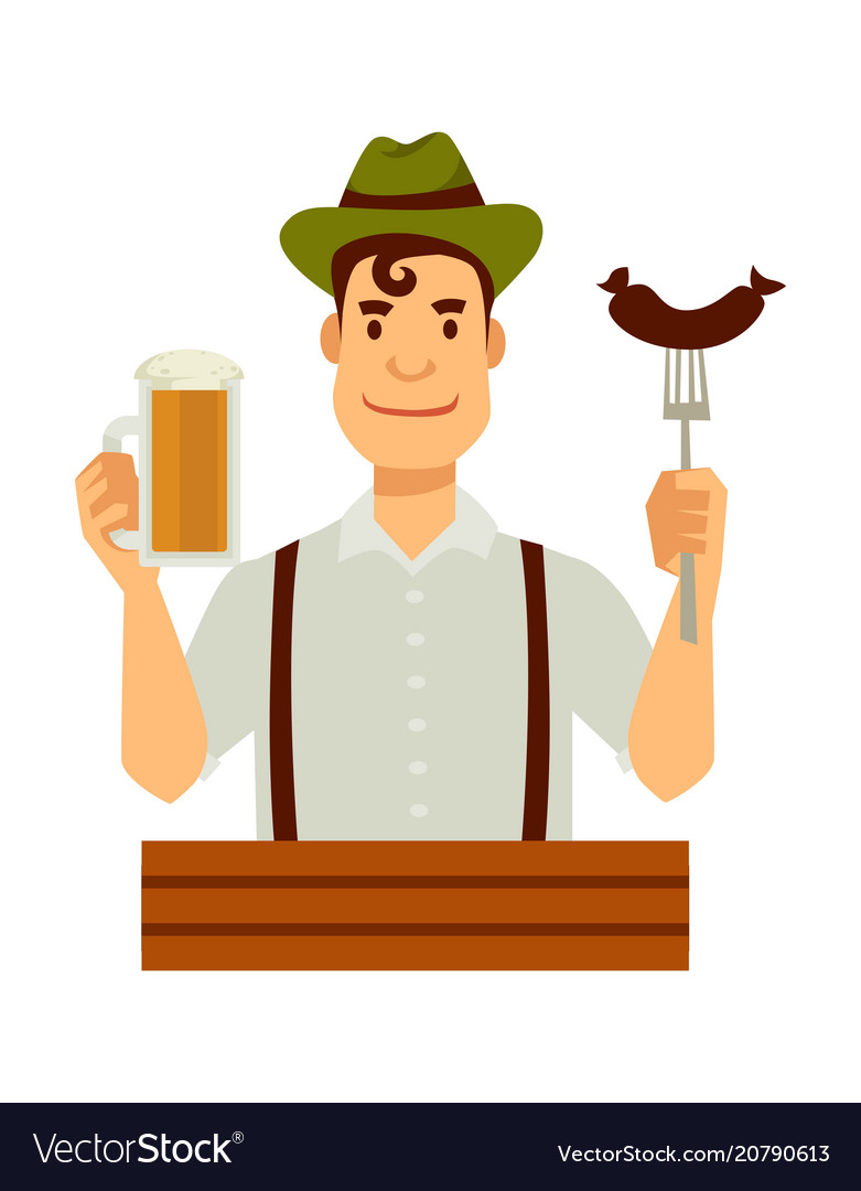 German in green hat with sausage on fork and beer vector image