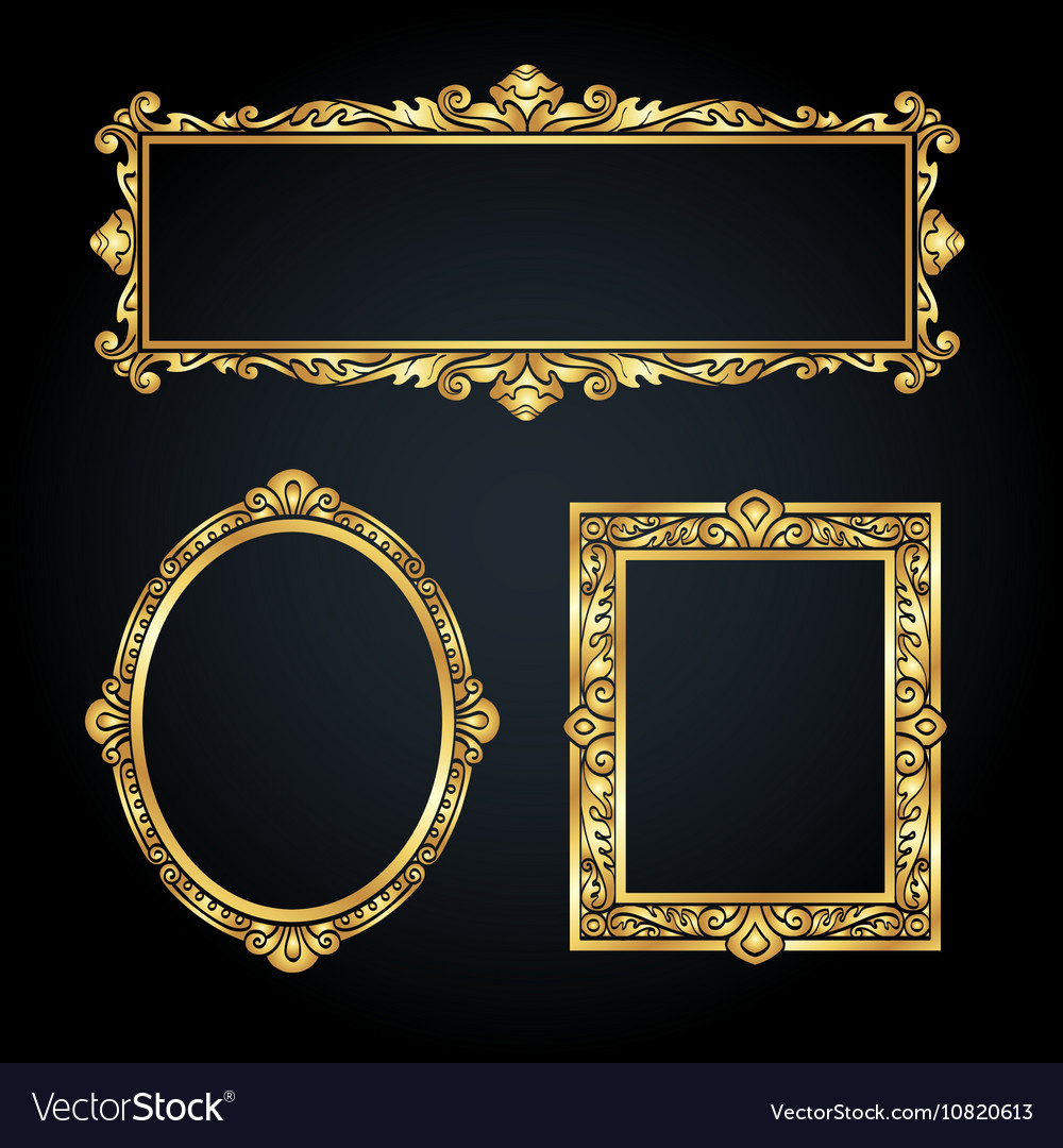 Gold Frames On Black Background Royalty Free Vector Image