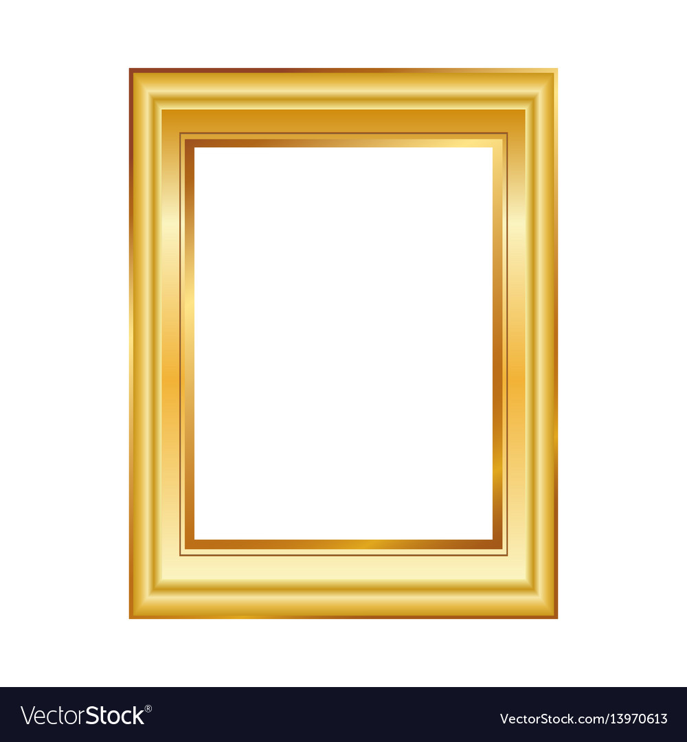 8c17b3465464 Golden frame isolated on white background classic Vector Image