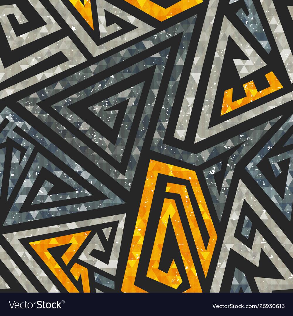 Grunge maze seamless pattern