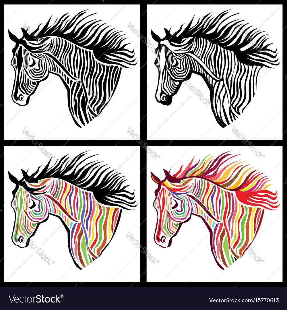Horse head paint set wild animal sign