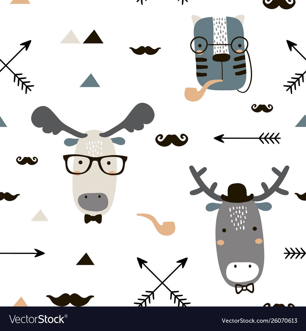 Seamless childish pattern with cute animal faces
