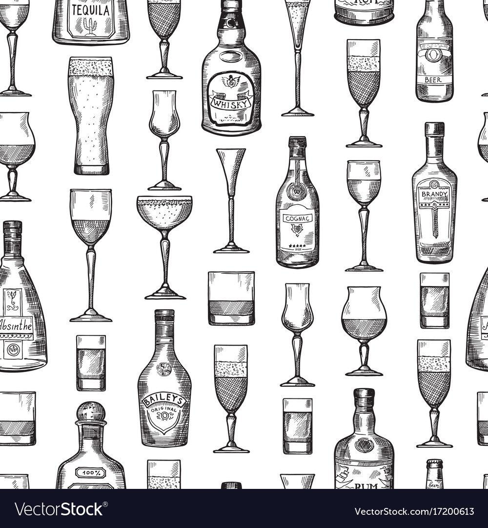 Seamless pattern with alcoholic drinking glasses