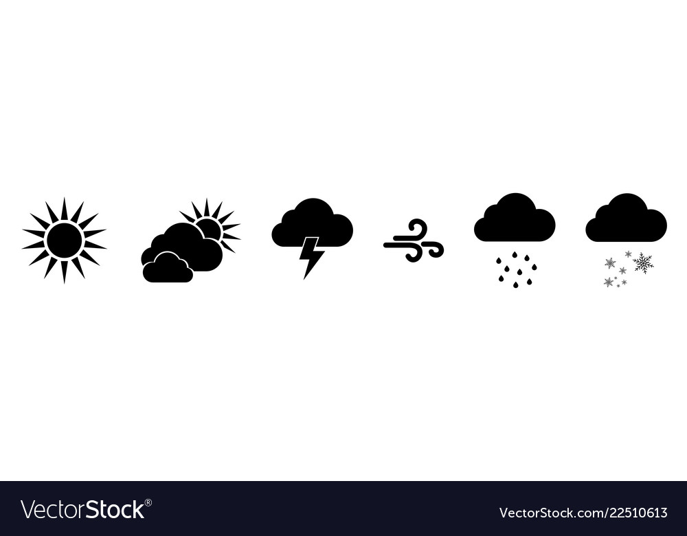 Set of black weather icons weathers icons weather