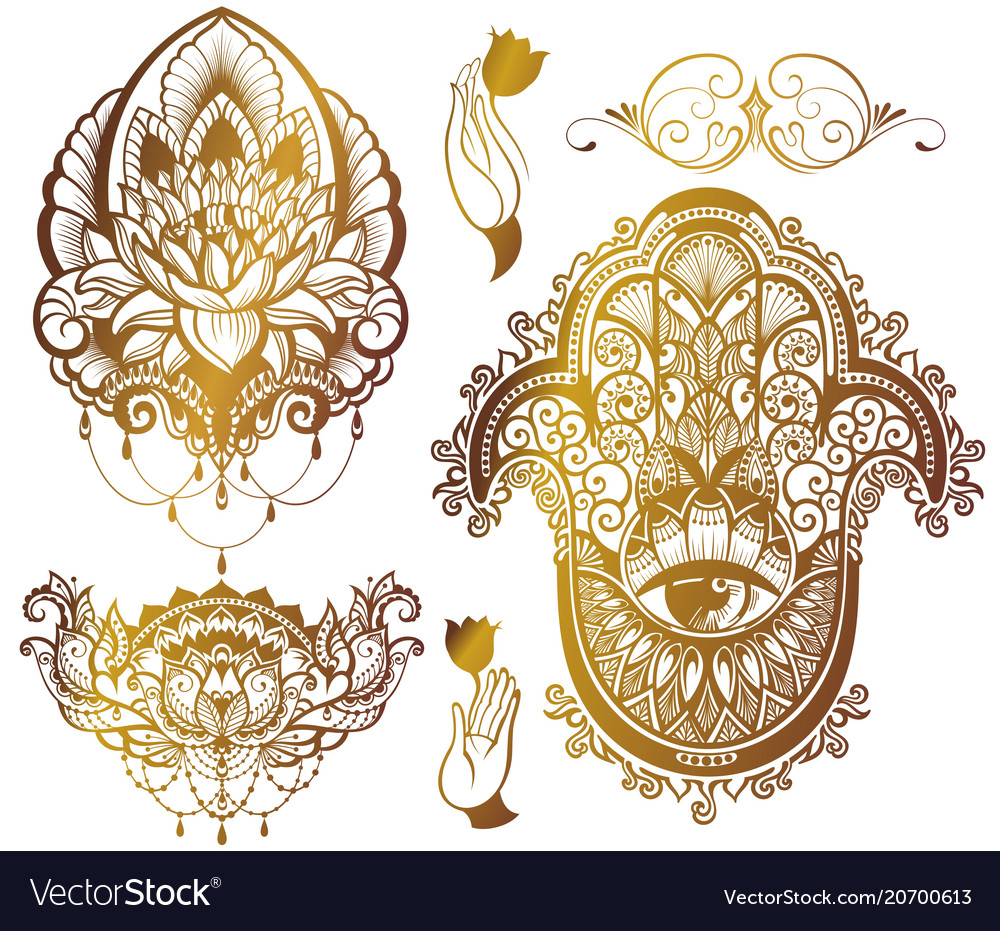 Set of lotushamsa vector image