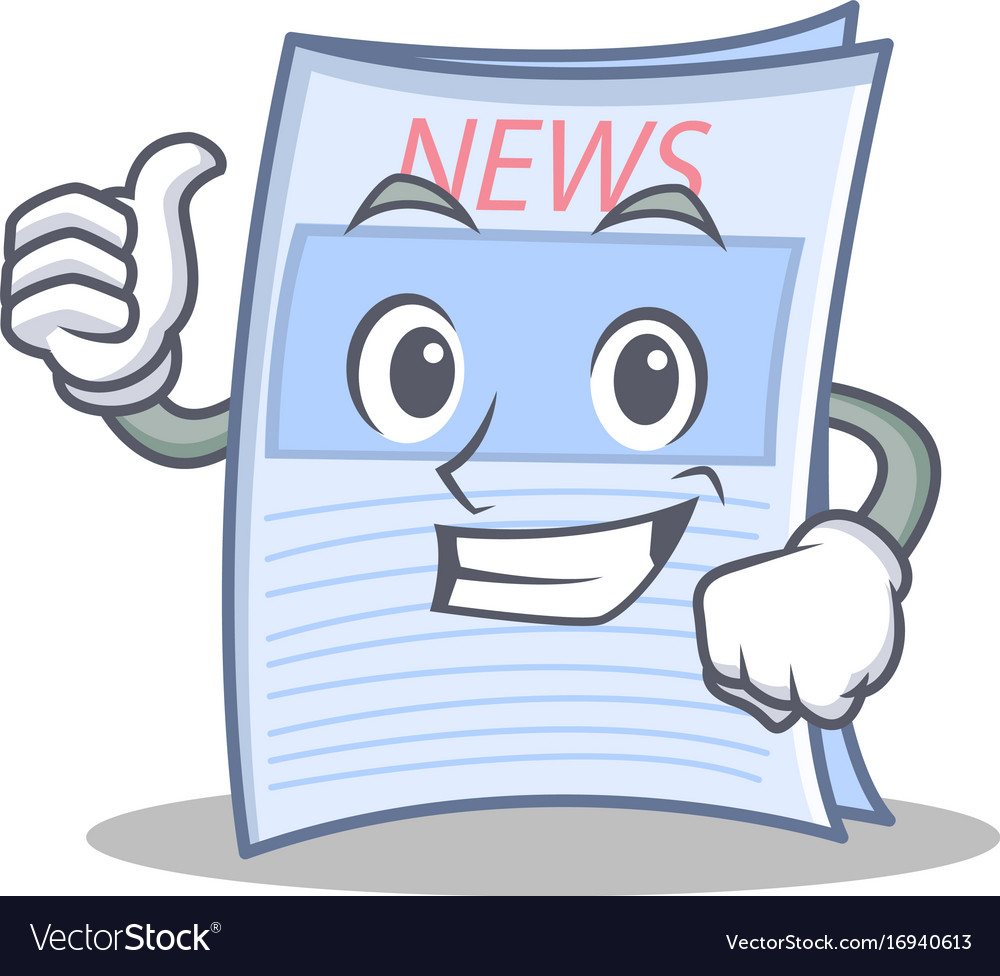 Thumbs up newspaper character cartoon style