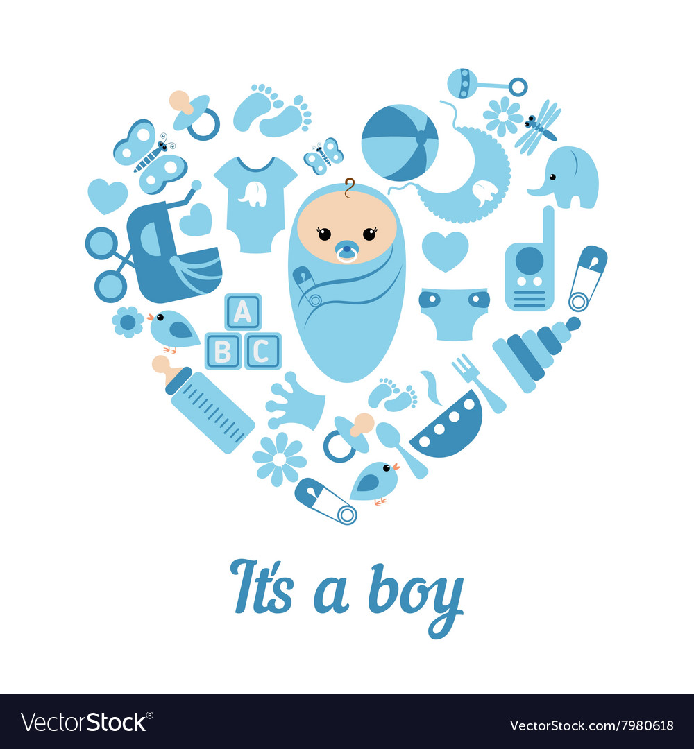 Baby Boy Shower Background Royalty Free Vector Image